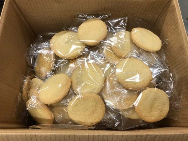 Box of individually wrapped shortbread for hospitalitybiscuits